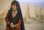An Afghan refugee girl at Chaman, Pakistan, on the border with Afghanistan..