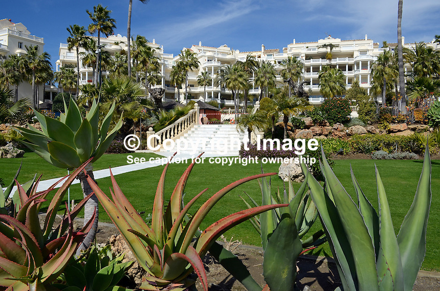 Las Dunas Hotel, Estepona, Malaga Province, Spain, facade facing sea, 201302241182..Copyright Image from Victor Patterson, 54 Dorchester Park, Belfast, UK, BT9 6RJ..Tel: +44 28 9066 1296.Mob: +44 7802 353836.Voicemail +44 20 8816 7153.Skype: victorpattersonbelfast.Email: victorpatterson@me.com.Email: victorpatterson@ireland.com (back-up)..IMPORTANT: If you wish to use this image or any other of my images please go to www.victorpatterson.com and click on the Terms & Conditions. Then contact me by email or phone with the reference number(s) of the image(s) concerned.