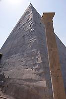 Roma 20 Aprile 2015<br /> Completato il restauro della Piramide di Caio Cestio, costato 2 milioni di euro finanziato dal mecenate giapponese Yuzo Yagi. La  piramide Cestio, vicino a Porta San Paolo, fu realizzata nel I secolo a.C., come tomba per Gaio Cestio Epulone, un membro dei septemviri epulone uno dei quattro pi&ugrave; importanti collegi religiosi della Roma antica.<br /> Rome April 20, 2015<br /> Completed the restoration of the Pyramid of Caius Cestius, cost 2 million euro funded by patron Japanese Yuzo Yagi. The pyramid Cestius, near Porta San Paolo, was built in the first century BC as a tomb for Gaius Cestius a member of septemviri  one of the four most important religious colleges of ancient Rome.