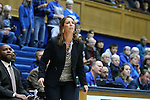 22 November 2016: ODU head coach Karen Barefoot. The Duke University Blue Devils hosted the Old Dominion University Monarchs at Cameron Indoor Stadium in Durham, North Carolina in a 2016-17 NCAA Division I Women's Basketball game. Duke won the game 92-64.