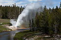 WY00585-00...WYOMING - Riverside Geyser along the Firehole River in the Upper Geyser Basin of Yellowstone National Park.