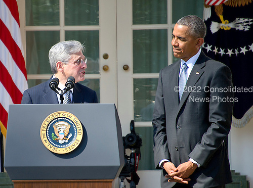 Judge Merrick Garland, chief justice for the US Court of Appeals for the District of Columbia Circuit, left, makes remarks following United States President Barack Obama's, right, announcement that he was the nominee to replace the late Associate Justice Antonin Scalia on the U.S. Supreme Court in the Rose Garden of the White House in Washington, D.C. on Wednesday, March 16, 2016. <br /> Credit: Ron Sachs / CNP