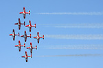 The nine CT-114 Tutor jets of the Canadian Snowbirds pass in a diamond formation during their flight demonstration as part of the 2008 San Francisco Fleet Week activities.  The Snowbirds are part of the 431 Air Demonstration Squadron and are based out of Moose Jaw, Saskatchewan.The team has flown the Canadian built CT-114 Tutor jet since 1971.
