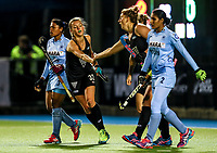 Madison Doar and Olivia Merry celebrate a goal during the international hockey match between the Blacksticks Women and India, Rosa Birch Park, Pukekohe, New Zealand. Tuesday 16  May 2017. Photo:Simon Watts / www.bwmedia.co.nz