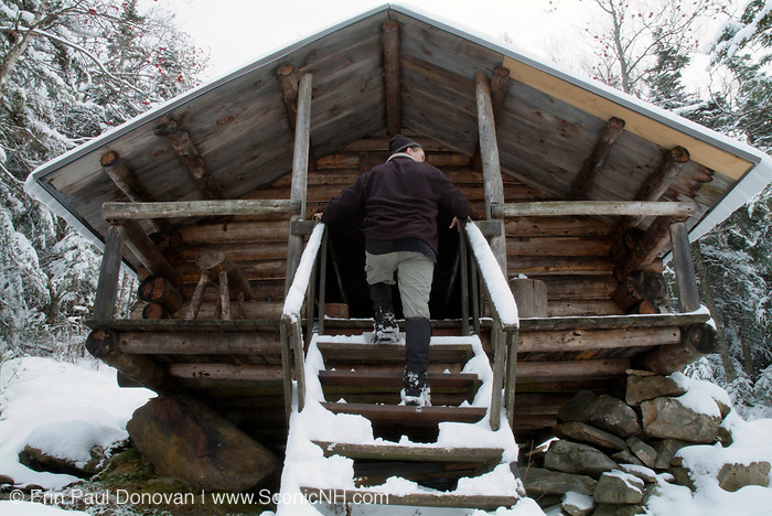 The Log Cabin located on Lowe s Path is at 3,263 feet in the Northern Presidential Range. Located in the White Mountains, New Hampshire USA. This shelter is designed after the Alaskan trapper style building and is located in a Forest Protection Area
