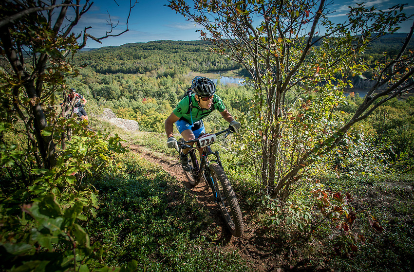 Mountain biker on the Panorama Trail Overlook of the RAMBA trail system of Marquette County during the Marji Gesick 100 endurance race.