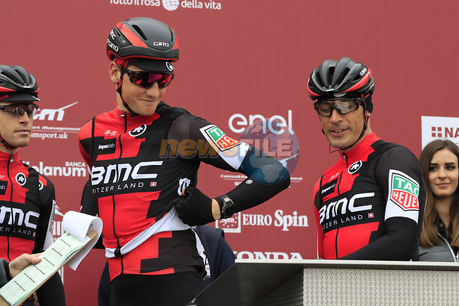 Whats my number? BMC Racing Team at sign on before the start of the 2017 Strade Bianche running 175km from Siena to Siena, Tuscany, Italy 4th March 2017.<br /> Picture: Eoin Clarke | Newsfile<br /> <br /> <br /> All photos usage must carry mandatory copyright credit (&copy; Newsfile | Eoin Clarke)