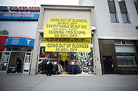 A store on Fulton Street in Downtown Brooklyn in New York announces that it is soon going out of business, on Tuesday, December 20, 2011. (© Richard B. Levine)