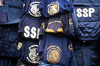 police jackets and vests along with other police parafanelia for sale to the general public at a store in Insurgentes, Mexico city.