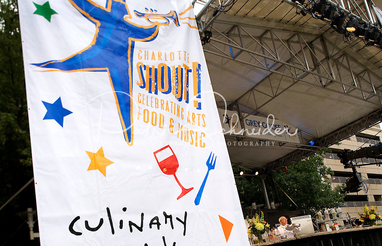 Chef Peter Reinhart, founder of the award-winning Brother Juniper's Bakery in Santa Rosa, Calif., shares culinary techniques with the audience during the 2008 Charlotte Shout culinary festival in downtown Charlotte, NC. Shout is a month-long celebration of art, culture, entertainment and culinary excellence.