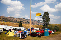 The campground is filled to capacity with tents, RVs, and trailers at the Testicle Festival at the Rock Creek Lodge in Clinton, MT.  The Rock Creek Lodge in Clinton, MT, has hosted the annual Testicle Festival since the early 1980s.  The four day festival and party revolves around the consumption of so-called Rocky Mountain Oysters, which are deep-fried bull testicles.