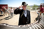 Gene Oliver, aka &quot;General Geno Vino of Reno&quot;, salutes during the National Anthem at the 51st annual International Camel Races in Virginia City, Nevada  September 12, 2010. .CREDIT: Max Whittaker for The Wall Street Journal.CAMEL