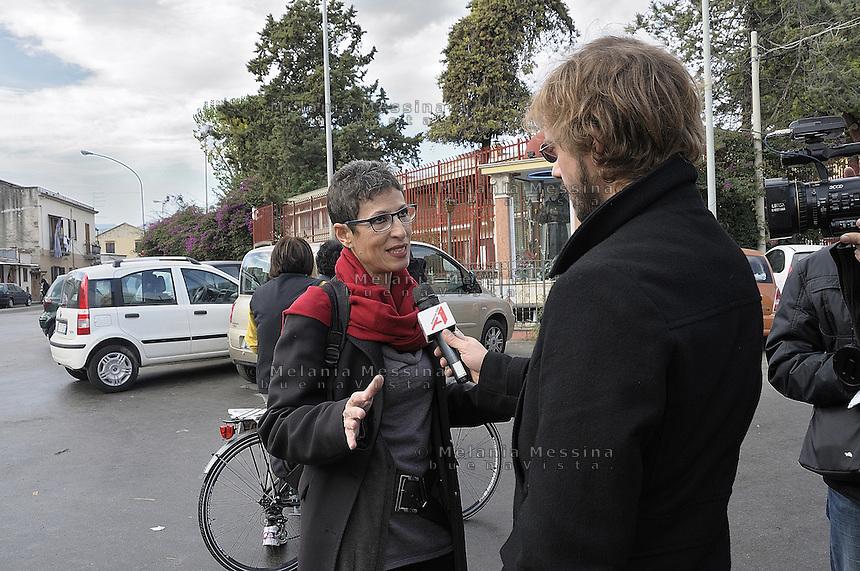 Antonella Monastra:centre-left candidate for mayor of Palermo during an interview..Antonella Monastra: candidata a sindaco per la città di Palermo nello schieramento di centrosinistra mentre rilascia un'intervista ad una TV locale.