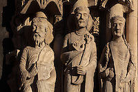 L-r; St Matthew, a king and a queen, from the right splay of the right bay of the Royal Portal, 1142-50, Western facade, Chartres cathedral, Eure-et-Loir, France. Chartres cathedral was built 1194-1250 and is a fine example of Gothic architecture. It was declared a UNESCO World Heritage Site in 1979. Picture by Manuel Cohen.