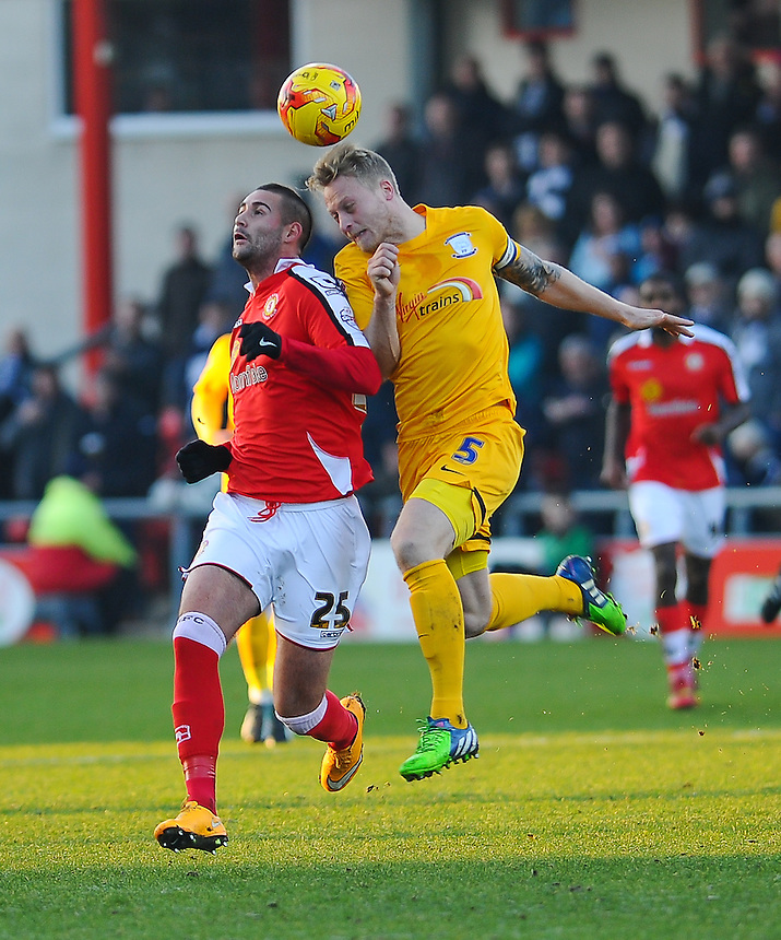Preston North End's Tom Clarke battles with Crewe Alexandra's Marcus Haber<br /> <br /> Photographer Craig Thomas/CameraSport<br /> <br /> Football - The Football League Sky Bet League One - Crewe Alexandra v Preston North End - Sunday 28th December 2014 - Alexandra Stadium - Crewe<br /> <br /> &copy; CameraSport - 43 Linden Ave. Countesthorpe. Leicester. England. LE8 5PG - Tel: +44 (0) 116 277 4147 - admin@camerasport.com - www.camerasport.com