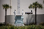A statue in front of the Hillsborough County Courthouse is wrappd in plastic in downtown Tampa for the Republican National Convention, August 30, 2012.
