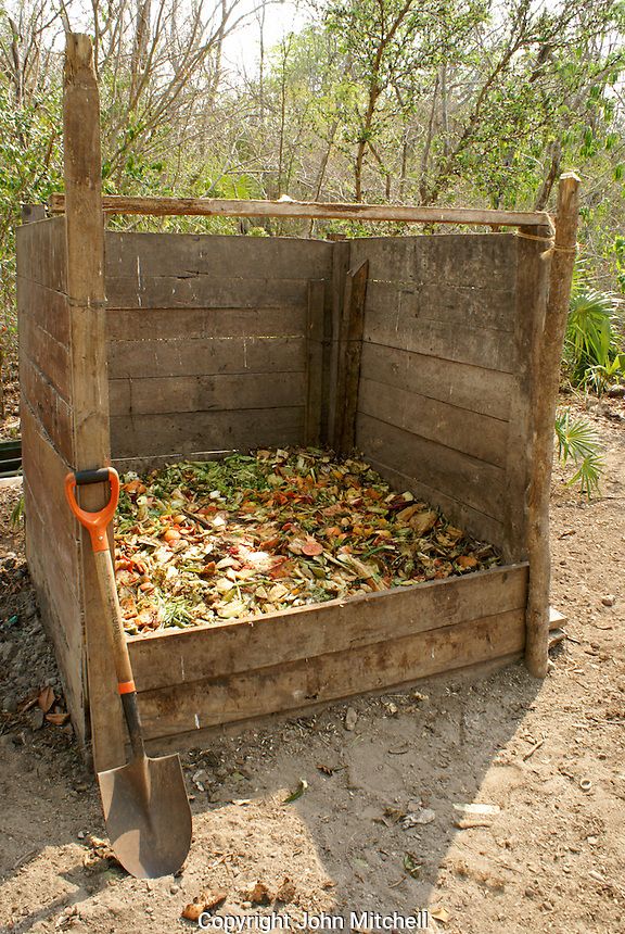 Compost bin and shovel at Hacienda Tres Rios on the Riviera Maya, Quintana Roo, Mexico.