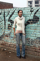 Shalalae Jamil one of pakistans most promising young artists photographed next to the Grey Noise gallery in Lahore.
