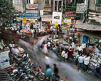 People move around the shops on Chandni Chowk road..