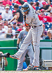 30 August 2015: Miami Marlins infielder Adeiny Hechavarria is brushed back by a pitch during play against the Washington Nationals at Nationals Park in Washington, DC. The Nationals rallied to defeat the Marlins 7-4 in the third game of their 3-game weekend series. Mandatory Credit: Ed Wolfstein Photo *** RAW (NEF) Image File Available ***