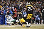 PITTSBURGH, PA - JANUARY 23: Dustin Keller #81 of the New York Jets is tackled by Lawrence Timmons #94 of the Pittsburgh Steelers in the AFC Championship Playoff Game at Heinz Field on January 23, 2011 in Pittsburgh, Pennsylvania(Photo by: Rob Tringali) *** Local Caption *** Dustin Keller