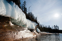 Lake Superior icy shoreline in spring on Michigan's Upper Peninsula.