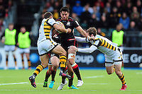 Sean Maitland of Saracens takes on the Wasps defence. Aviva Premiership match, between Saracens and Wasps on October 9, 2016 at Allianz Park in London, England. Photo by: Patrick Khachfe / JMP