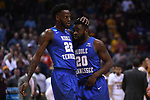 MILWAUKEE, WI - MARCH 16:  Middle Tennessee Blue Raiders forward JaCorey Williams (22)] and guard Giddy Potts (20) celebrate during the second half of the 2017 NCAA Men's Basketball Tournament held at BMO Harris Bradley Center on March 16, 2017 in Milwaukee, Wisconsin. (Photo by Jamie Schwaberow/NCAA Photos via Getty Images)