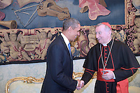 Secretary of State Vatican Parolin,Pope Francis during a meeting with U.S. President Barack Obama  a private audience in his private library at the Vatican on March 27, 2014.