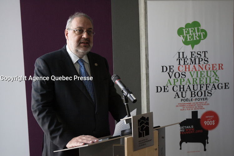 Montreal  (Quebec) CANADA - Nov 2011 File Photo - Feu Vert a nre rogam to get rid of old wood burning owens. Pierre Arcand