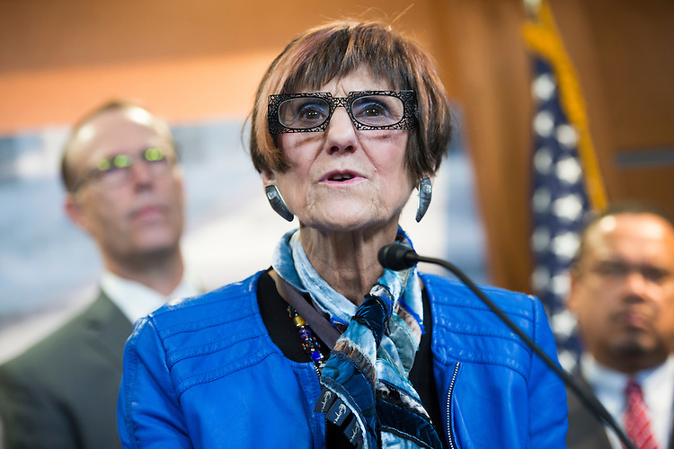 UNITED STATES - DECEMBER 08: Rep. Rosa DeLauro, D-Conn., attends a news conference in the Capitol Visitor Center where she and members of the Congressional Progressive Caucus criticized many of President-elect Trump's choices for cabinet positions, December 08, 2016. Reps. Jared Huffman, D-Calif., left, and Mark Pocan, D-Wis., also appear. (Photo By Tom Williams/CQ Roll Call)