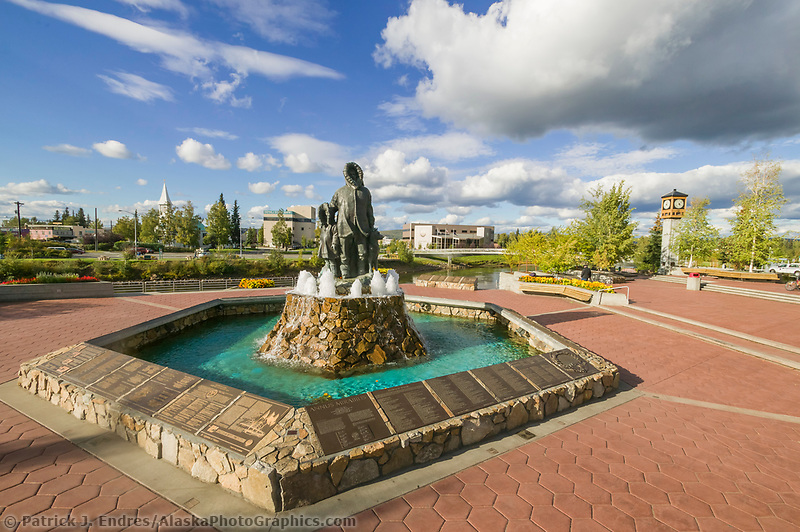 First Family Statue in Golden Heart Park, downtown Fairbanks, Alaska, along the Chena river.