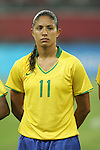 09 August 2008: Cristiane (BRA).  The women's Olympic soccer team of Brazil defeated the women's Olympic soccer team of North Korea 2-1 at Shenyang Olympic Sports Center Wulihe Stadium in Shenyang, China in a Group F round-robin match in the Women's Olympic Football competition.