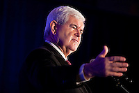 Republican presidential candidate Newt Gingrich speaks to the annual meeting of the Iowa Association of Electric Cooperatives on Thursday, December 1, 2011 in West Des Moines, IA.