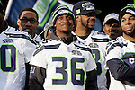 Seattle Seahawks Akeem Auguste, a player on the practice squad (36) smiles while attending the Super Bowl Championship celebrations at CenturyLink Field on February 5, 2014 in Seattle, Washington. ©2014. Jim Bryant Photo. ALL RIGHTS RESERVED.