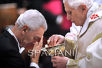 Italian Ambassador to the Holy See, Francesco Maria Greco,Pope Benedict XVI leads the New Year solemn mass in Saint Peter's Basilica at the Vatican, 01 January 2011.