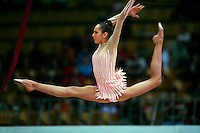 "Daria Kushnerova of Ukraine split leaps at 2008 World Cup Kiev, ""Deriugina Cup"" in Kiev, Ukraine on March 22, 2008."