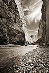 The Rio Grande River cutting through Santa Elena Canyon in Big Bend National Park.