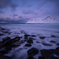 Winter at Skagsanden beach, Flakstadøy, Lofoten Islands, Norway