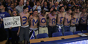 "The Cameron Crazies start their count to Coach K's record to the NCAA D1 win record. Duke men's basketball had an opening scrimmage game as a part of the ""Countdown to Craziness"" event at Cameron Indoor Stadium Friday Oct. 14, 2011.  Photo by Al Drago..."