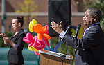 Ohio University President Roderick McDavis, right, talks while Kaitlyn Finneran, right, a staff interpreter from the Deaf Services Center in Worthington, Ohio, signs using ASL during the ADA25 Kickoff Event on October 6, 2015 at Ohio University's Howard Park. McDavis said he wanted to do more for those living with disabilities by working together as a community. Photo by Emily Matthews