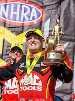 May 15, 2016; Commerce, GA, USA; NHRA top fuel driver Doug Kalitta celebrates after winning the Southern Nationals at Atlanta Dragway. Mandatory Credit: Mark J. Rebilas-USA TODAY Sports