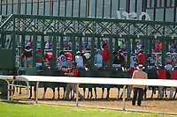 HOT SPRINGS, AR - MARCH 18: The horses loading in the starting gate before the running of the 3rd race at Oaklawn Park on March 18, 2017 in Hot Springs, Arkansas. (Photo by Justin Manning/Eclipse Sportswire/Getty Images)