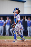 College of Central Florida Patriots catcher Matt Coello (7) looks for a popup during a game against the SCF Manatees on February 8, 2017 at Robert C. Wynn Field in Bradenton, Florida.  SCF defeated Central Florida 6-5 in eleven innings.  (Mike Janes/Four Seam Images)