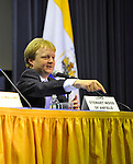 "Lord Stewart Wood of Anfield (shown pointing to his name card a panelist at ""Change in the White House? Comparing the George W. Bush and Barack Obama Presidencies"" on Thursday, April 19, 2012, at Hofstra University, Hempstead, New York, USA. Hofstra's event was part of ""Debate 2012: Pride, Politics and Policy"" which leads up to the Presidential Debate Hofstra is hosting on October 15, 2012.  Lord Stewart Wood, a British academic and Labour life peer in the House of Lords, served as Senior Policy Advisor to Prime Minister Brown and campaign manager for the successful campaign of Ed Milliband to Labour Party Leader, and a member of the Shadow Cabinet."