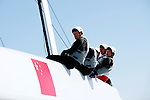 AC 45 China Team 1 practicing in Cascais Portugal before the start of the America's Cup World Series..