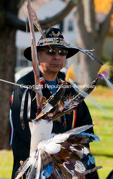 MIDDLEBURY, CT-110814JS05- Wendell Deer With Horns, greets guests during a Native American blessing in a Veterans Day event Saturday on the Middlebury Green. The event was hosted by the Oakville American Legion Post 195 and the Middlebury Parks and Recreation Department. Wendell Deer With Horns is originally from the Cheyenne River Sioux Indian Reservation in South Dakota.<br />  Jim Shannon Republican-American