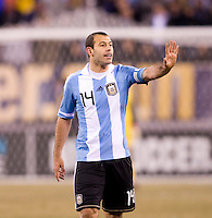 Javier Mascherano. The USMNT tied Argentina, 1-1, at the New Meadowlands Stadium in East Rutherford, NJ.