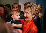 Senator Hillary Clinton plays with one-year-old Max Weitzman of Sacramento during day two of the California Democratic Convention in San Diego, Saturday April 28, 2007. He was there with his parents, Randi and Dan Weitzman..Sacramento Bee/ Brian Baer