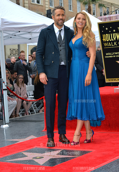 Actor Ryan Reynolds &amp; wife actress Blake Lively at the Hollywood Walk of Fame Star Ceremony honoring actor Ryan Reynolds.<br /> Los Angeles, CA. <br /> December 15, 2016<br /> Picture: Paul Smith/Featureflash/SilverHub 0208 004 5359/ 07711 972644 Editors@silverhubmedia.com